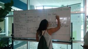 關島博物館的每日一字活動,5月30日主題為我愛你,歡迎各與會島民用自己語言寫下我愛你,透過參與實踐的方式,理解島嶼間語言的差異性。看到排灣語及阿美語了嗎?攝影:巫淑蘭